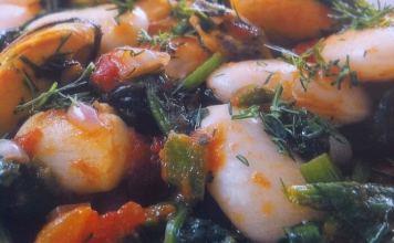 Θαλασσινά με γίγαντες και σπανάκι - νόστιμη συνταγή