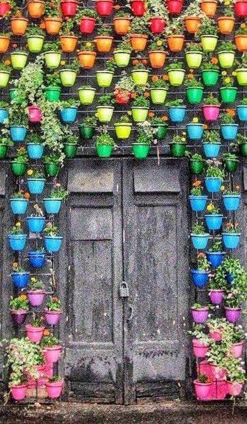 Η παλιά πόρτα και οι πολλές και γεμάτες χρώμα γλάστρες