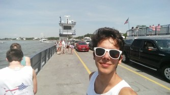 On the ferry to Fort Morgan!