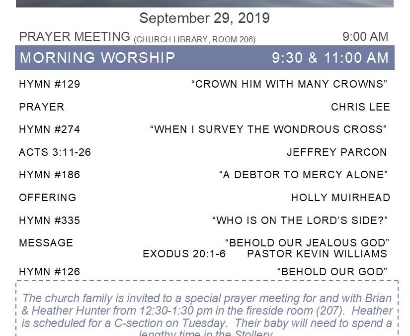 Bulletin for September 29, 2019