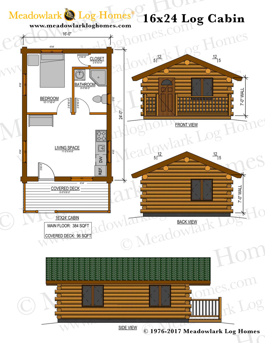 Glacier 16x24 Log Cabin Meadowlark Log Homes
