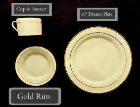 Tableware Rentals - Modern Gold Rimmed Plates