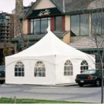 white tent with clear windows available for rent