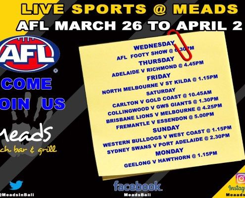 What's On Sports @ Meads In Bali   AFL