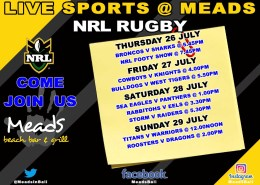 Meads in Bali Sports NRL Rugby Live @ Meads Bali