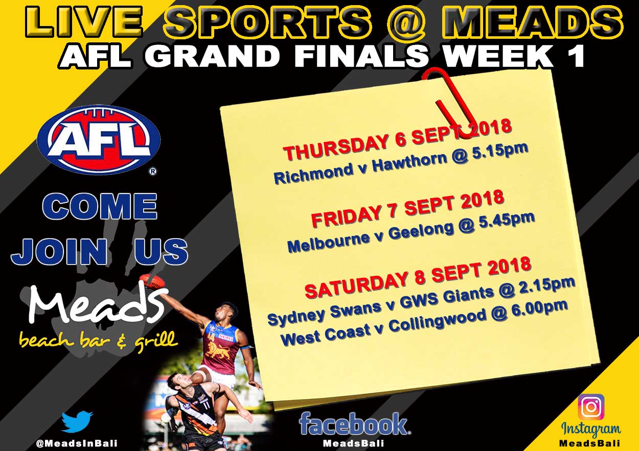 MEADS BEACH BAR & GRILL AFL GRAND FINALS WEEK 1
