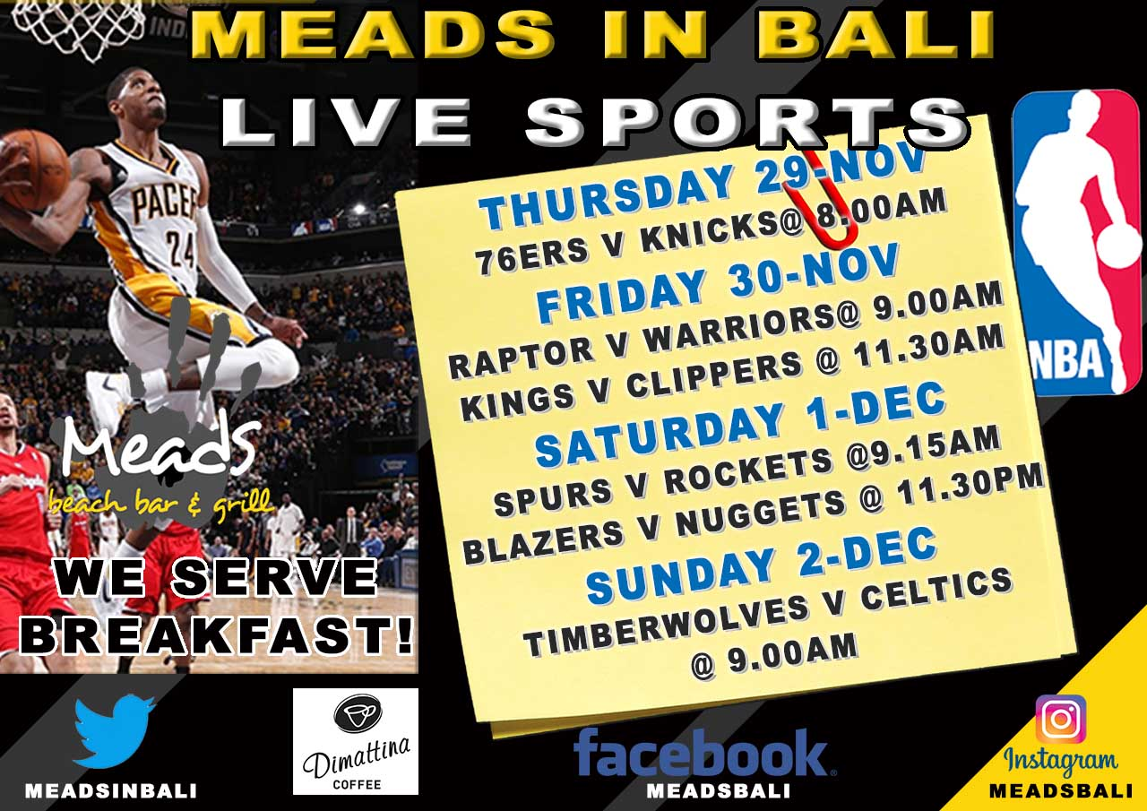 Where to Watch NBA in Bali Meads Beach Bar & Grill