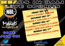 Where to Watch Australian NBL in Bali Meads Beach Bar & Grill