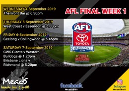 Meads in Bali Sports AFL FINAL WEEK 1