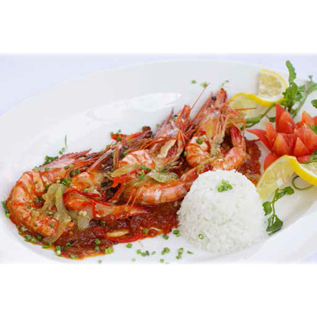 GIANT BLACK TIGER PRAWNS BBQ, Grilled with Garlic and Chilly, Singapore Chilly Sauce