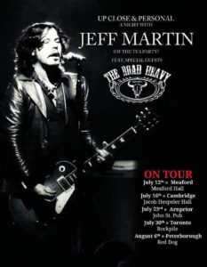The Road Heavy will join Jeff Martin on an Ontario tour over the next month