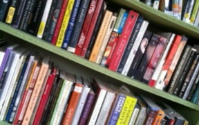 One of my many overcrowded bookshelves.