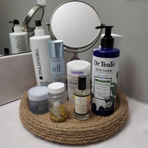 Organize bathroom items with a lazy susan