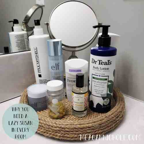Organize with a Lazy Susan: Why you need a lazy susan in every room to organize, like the bathroom