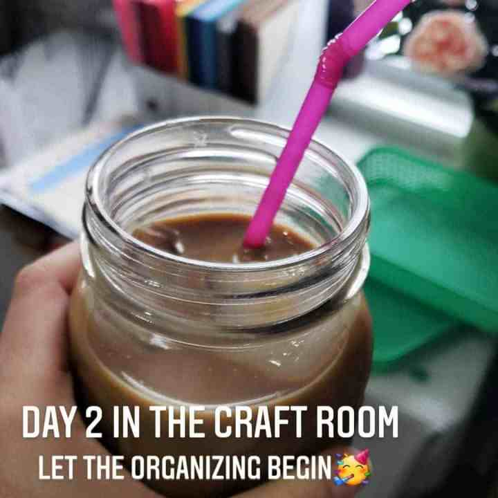iced coffee in mason jar for a how to Organize a Messy Room blog post