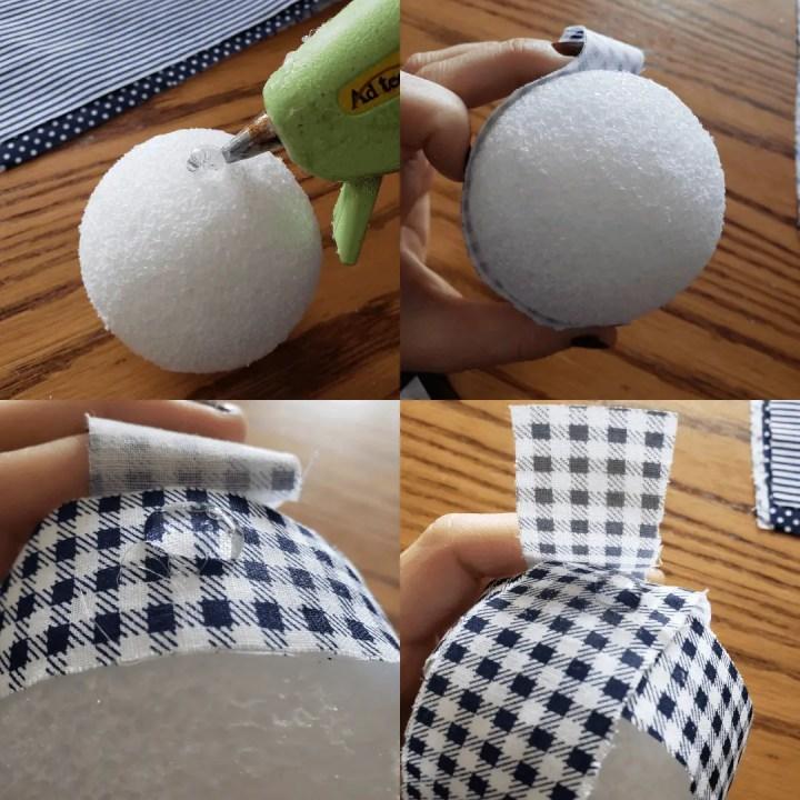 gluing fabric strips to styrofoam balls to create diy navy rag balls