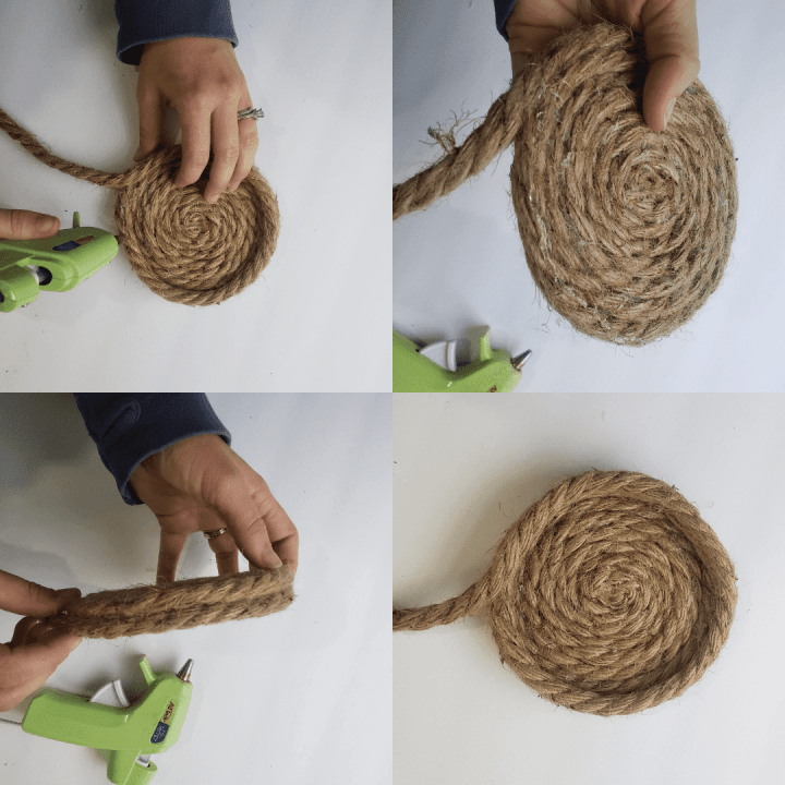 person creating the walls for a rope basket for a photo of a Hanging Rope Basket diy tutorial