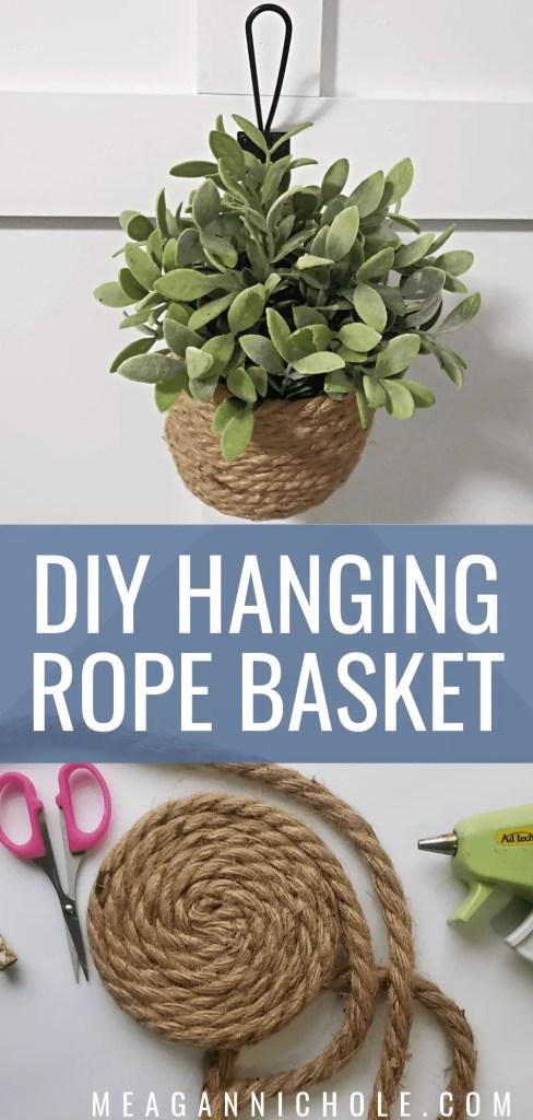 fake hanging plant basket for a photo of a Hanging Rope Basket diy tutorial