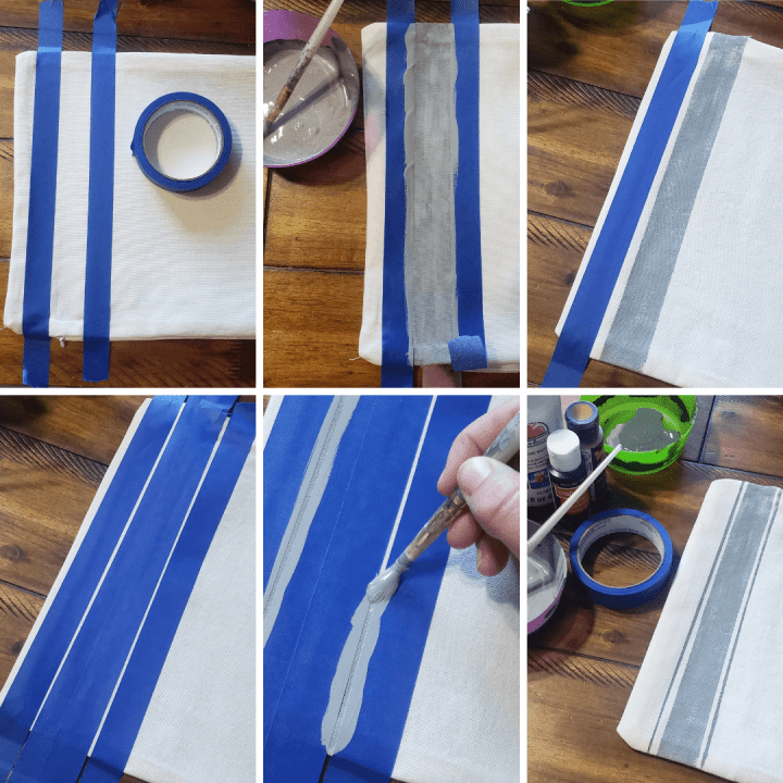 How to paint farmhouse stripes on Fall Throw Pillow Covers