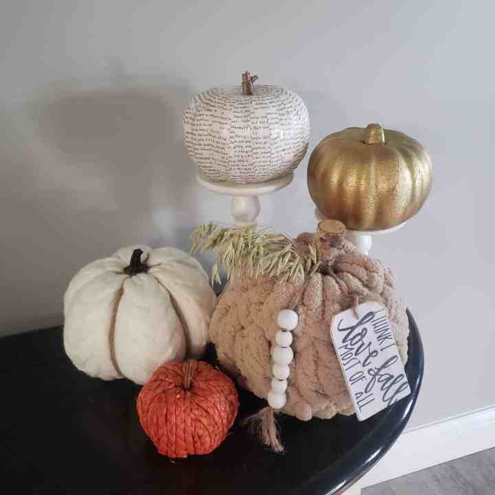 decorate with pumpkins for your fall entryway