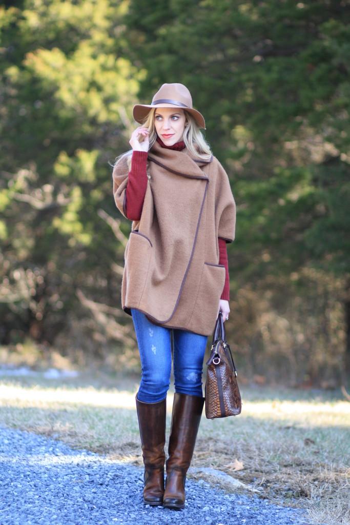 Conquest Camel Wool Cape Burgundy Knit Turtleneck Amp Neutral Details Meagans Moda