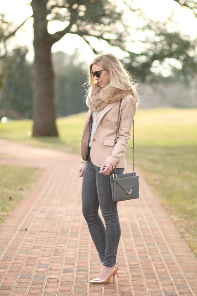 Soft Blush Pink Blazer Faux Fur Snood Amp Rose Gold Pumps