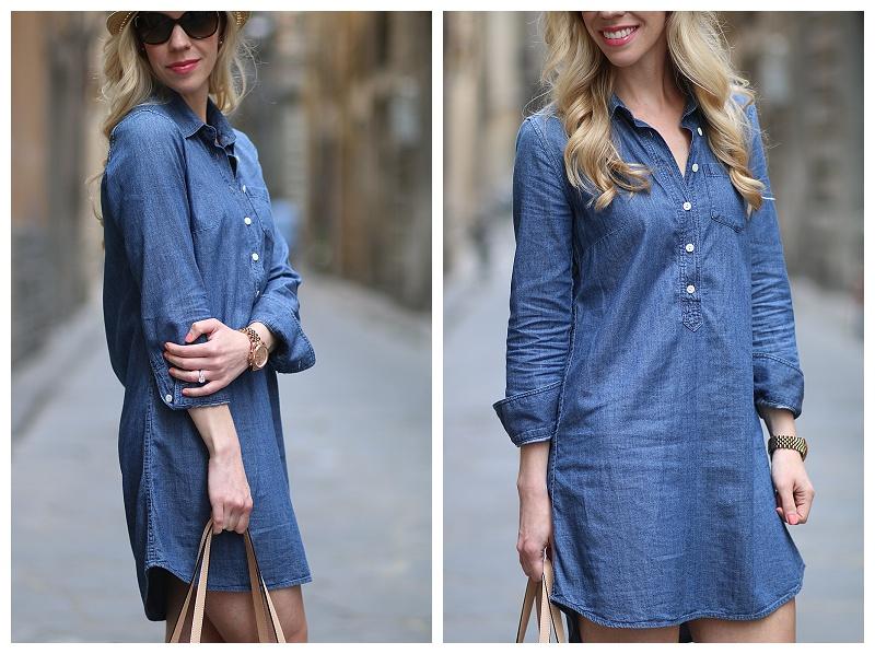 { Streets Of Firenze: Denim Shirt Dress, Lace-up Sandals