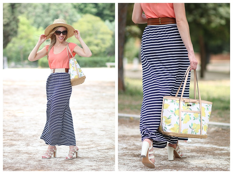 { Easy Breezy: Straw Hat, Striped Maxi Skirt & Lace-up