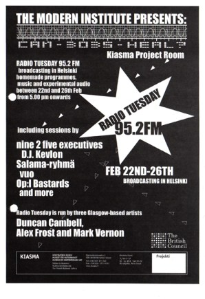 Radio Tuesday at Kiasma Museum, Helsinki flyer, 2000