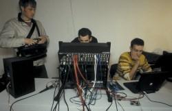 David Fulford & Calum Stirling in the adhoc Radio Tuesday recording studio, Transmission Gallery, 2000