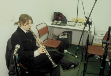 Lucy McKenzie of Mutti Geld recording in the studio - e.g sometime instant, Transmission Gallery, 2000