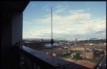 Antenna transmitting from a Glasgow highrise, 1999