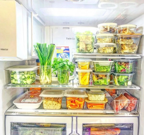 Organized Sunday Fridge with meal prep containers