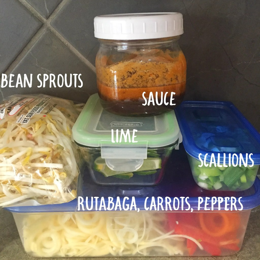 Low Carb Spiralized Pad Thai Prepped