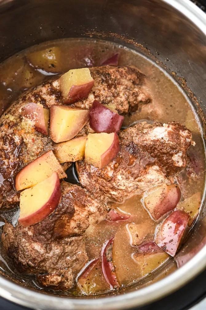 Instant Pot Honey Apple Pork tenderloin finished in pot