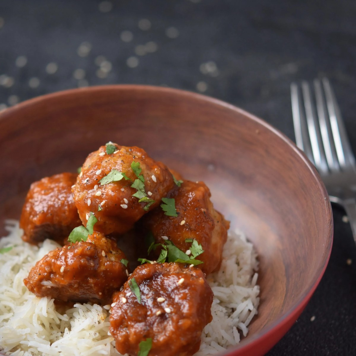 Instant Pot Sweet & Sour Meatballs with Rice {Pot in Pot}