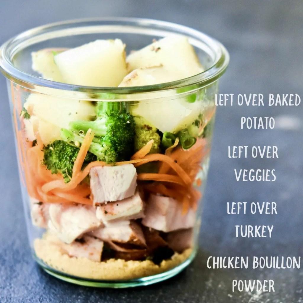 Leftover Turkey Instant Mason Jar Soup