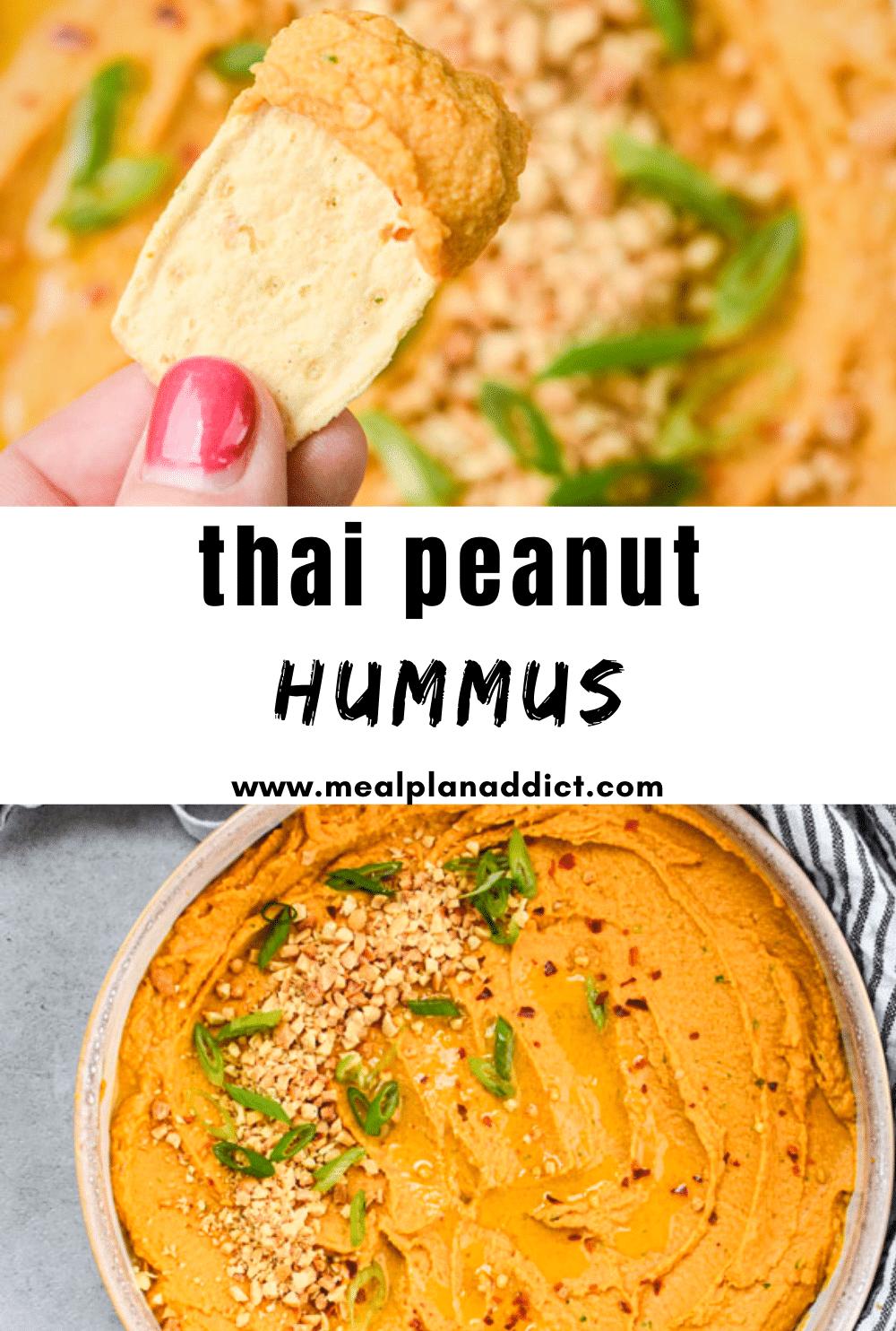 thai peanut hummus pin with 2 images