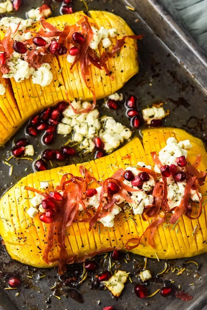 Holiday Hasselback-Butternut-Squash