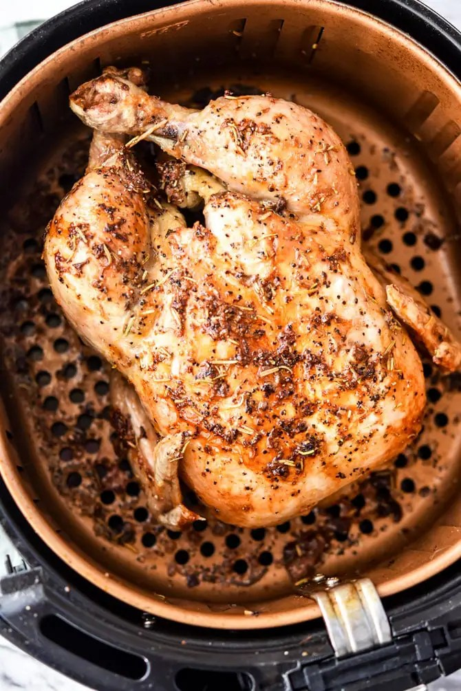 Air Fryer Garlic Rosemary Rotisserie Chicken