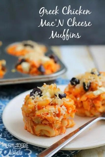 Greek Chicken Mac 'N Cheese Muffins