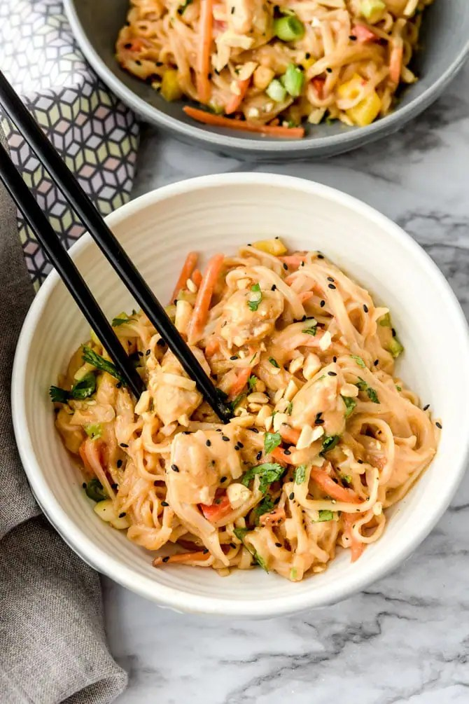 Instant Pot Sticky Garlic Peanut Noodles with Chicken-3