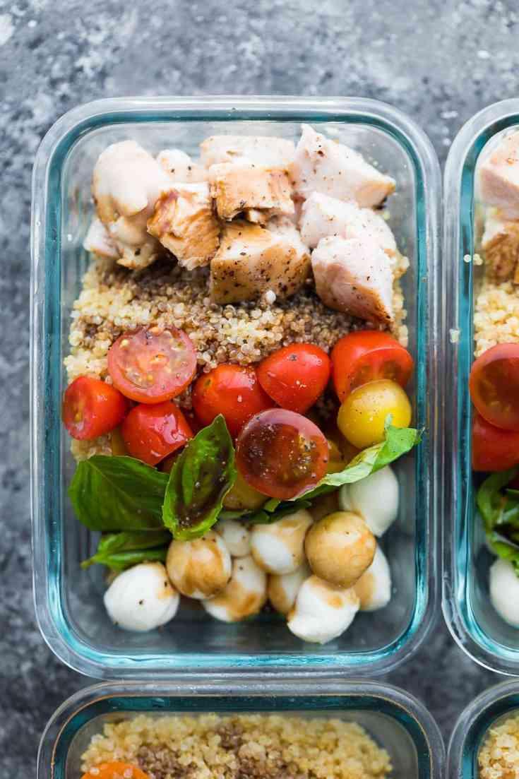 Caprese Chicken Salad Meal Prep Bowls
