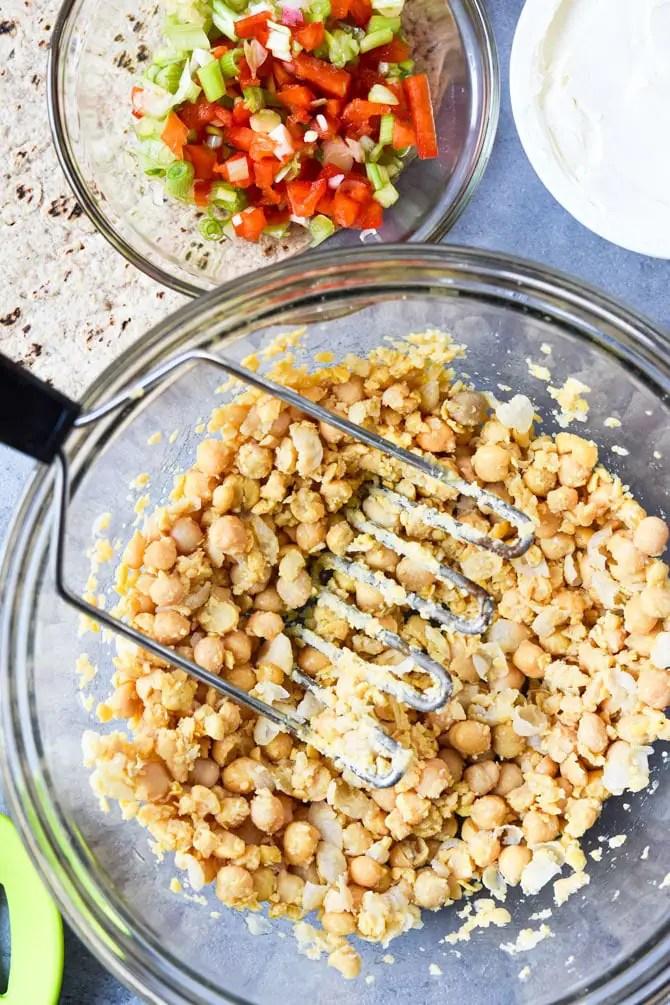 Buffalo Chickpea Pinwheel Meal Prep close up prep