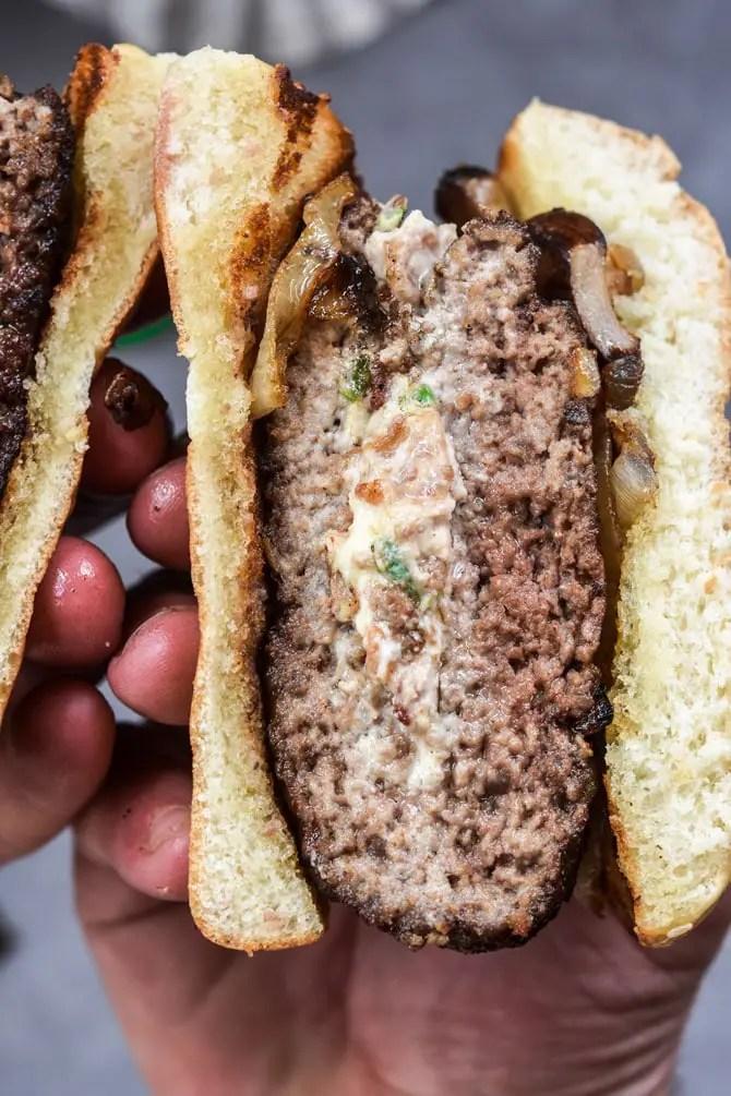 Easy Jalapeno Popper Stuffed Burgers