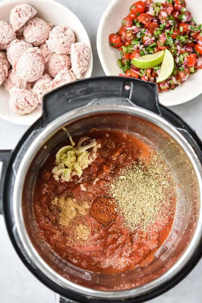 Instant Pot Mexican Meatballs ingredients before cooking