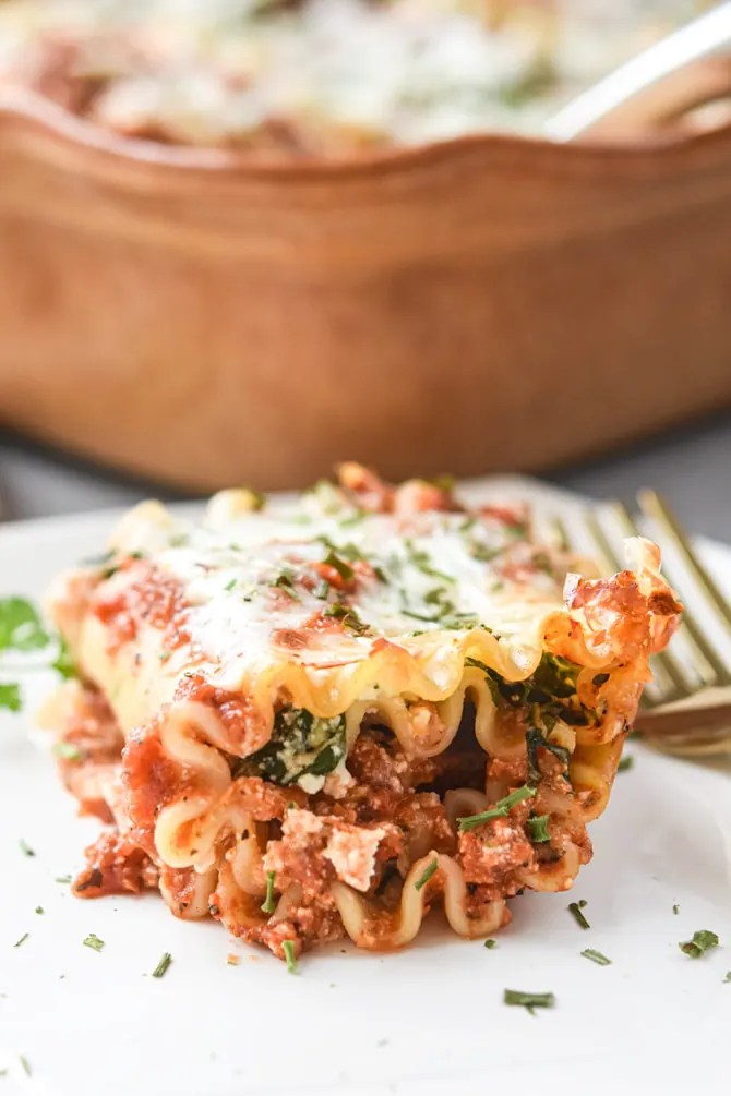 Veggie Loaded Lasagna Roll Ups plated close up
