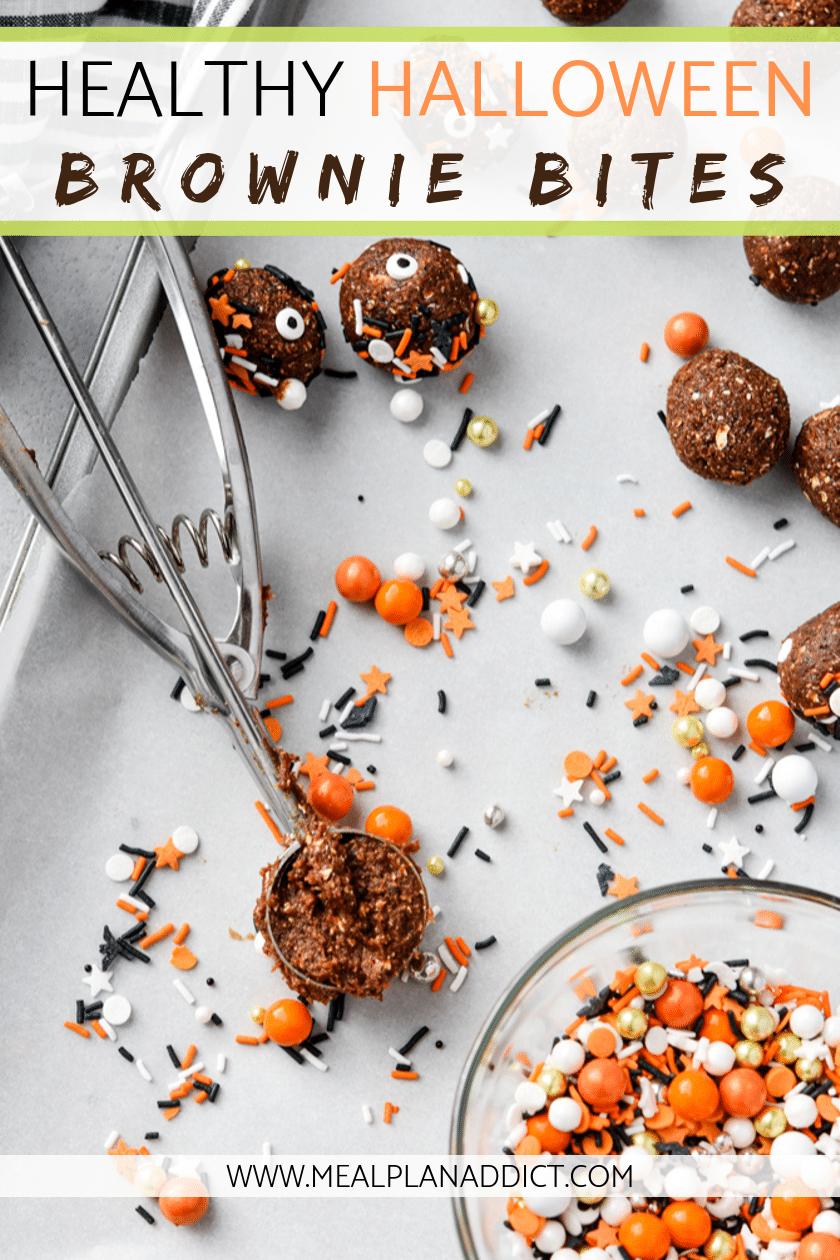 healthy Halloween brownie bites pin with cookie scoop