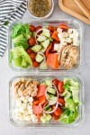 Mediterranean Baked Chicken Salad Meal Prep 2 containers