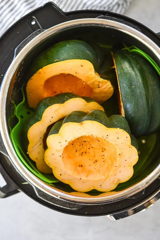 Acorn squash cut in Instant Pot from above